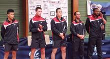 L'équipe Pro B : Alexandre, Enzo, Bai, Damien, Christian (coach)